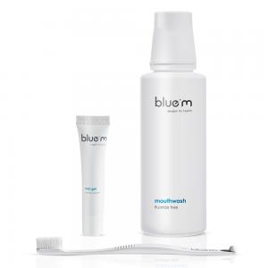 bluem oral gel, bluem mouthwash and bluem ultrasoft toothbrush in the BAIRD Implant Pack