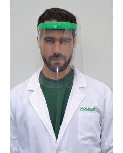 A dental professional in white overcoat wearing reusable a Dental Visor